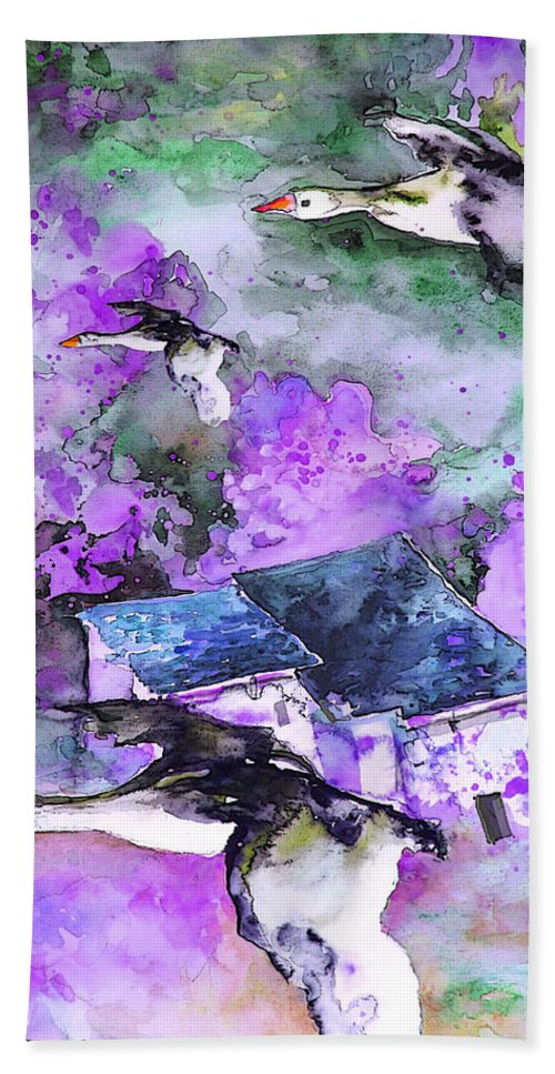 Watercolour Bird Painting Beach Towel featuring the painting Migration 01 by Miki De Goodaboom