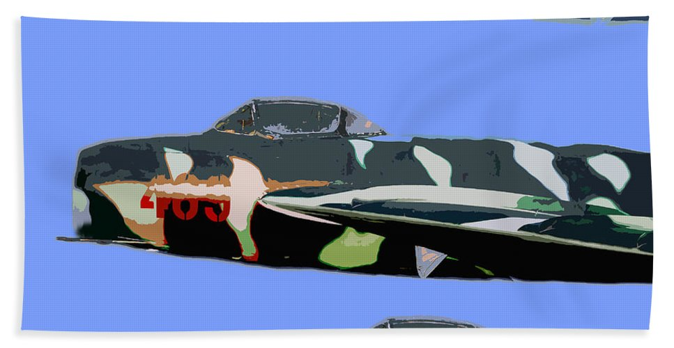Mig Beach Towel featuring the painting Migs In Formation by David Lee Thompson