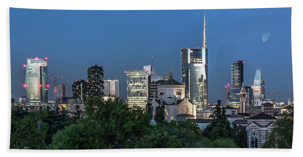 Architecture Beach Towel featuring the photograph Milan Skyline By Night, Italy by Marco Iebba