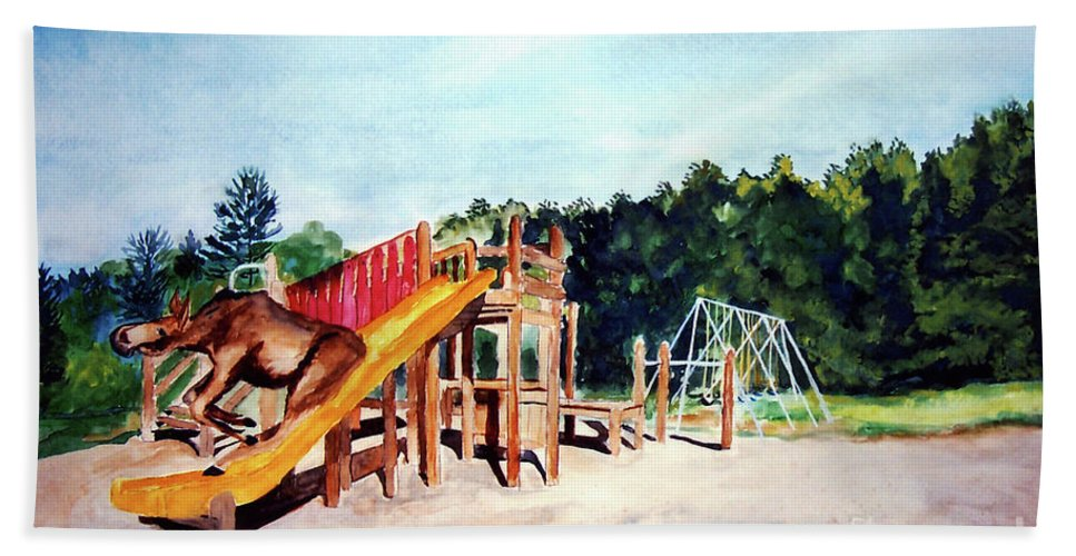 Moose Beach Towel featuring the painting Mildred Goes Down The Slide by Stella Sherman