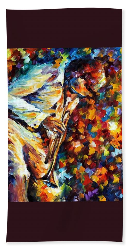 Afremov Beach Towel featuring the painting Miles Davis - Gold Trumpet by Leonid Afremov