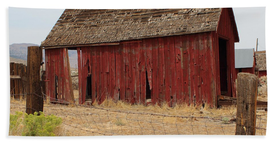 Weathered Barns Beach Towel featuring the photograph Milford Outbuilding 4 by Lydia Miller