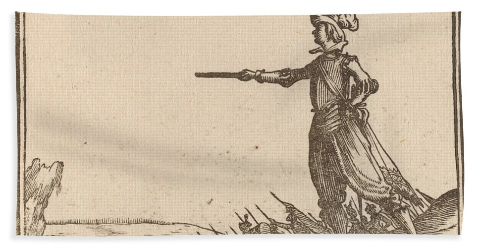 Beach Towel featuring the drawing Military Commander On Foot by Edouard Eckman After Jacques Callot
