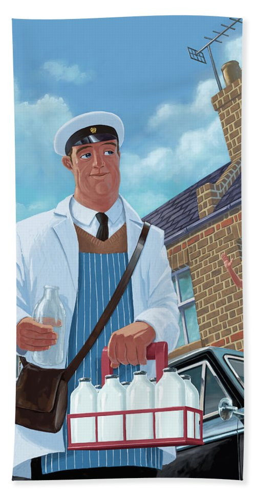 Milkman Beach Towel featuring the painting Milkman On Daily Milk Delivery In Urban Old Street by Martin Davey