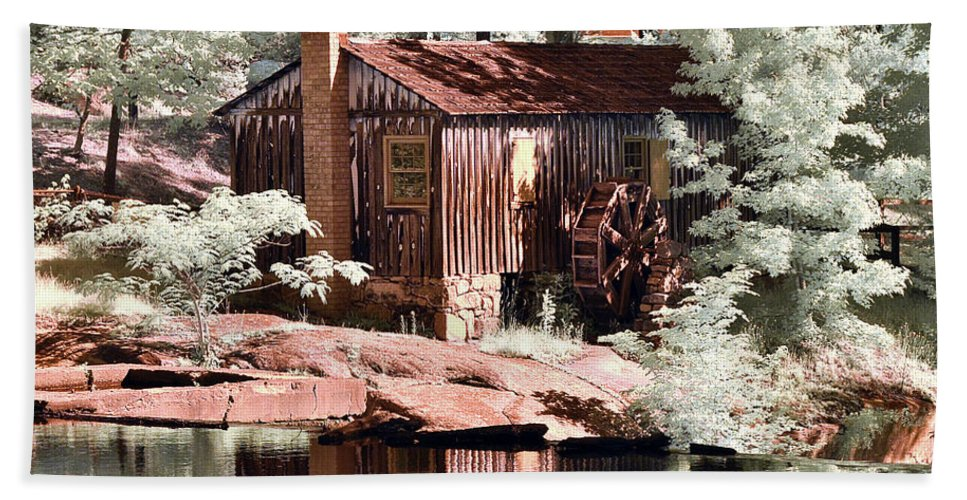Perry's Mill Pond Beach Towel featuring the photograph Mill Pond Dreamscape by Stephanie Petter Garrett