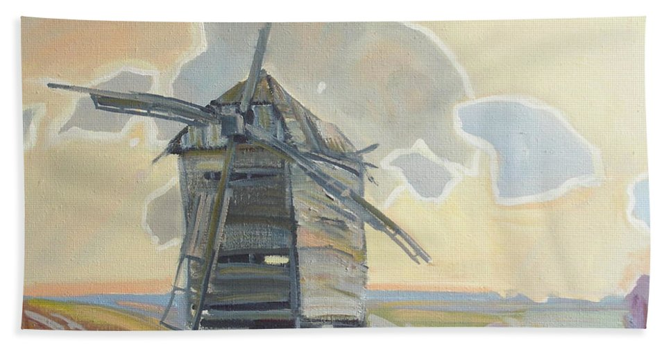 Oil Beach Towel featuring the painting Mill by Sergey Ignatenko
