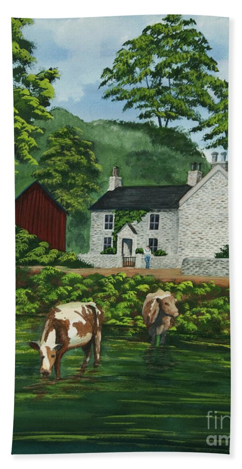 Cows Beach Towel featuring the painting Milldale In Staffordshire by Charlotte Blanchard