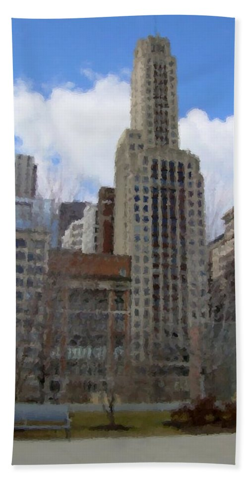 Chicago Beach Towel featuring the digital art Millenium Park And Bench 2 by Anita Burgermeister