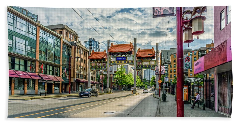 Vancouver Beach Towel featuring the photograph Millennium Gate In Vancouver Chinatown, Canada by Viktor Birkus