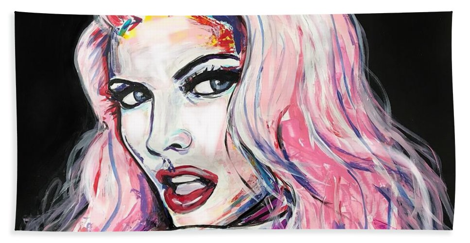 Pop Art Beach Towel featuring the painting Million Dollar Babe by Leysan Khasanova