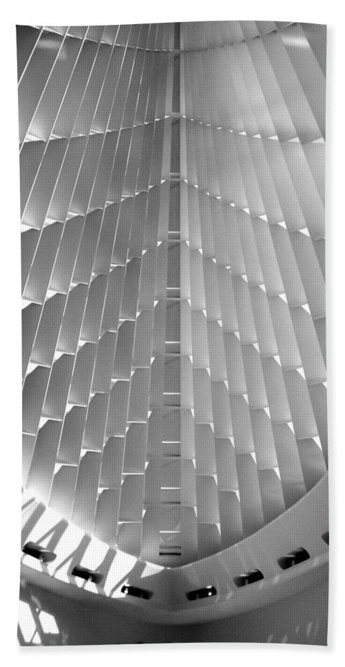 Mam Beach Towel featuring the photograph Milwaukee Art Museum Interior B-w by Anita Burgermeister