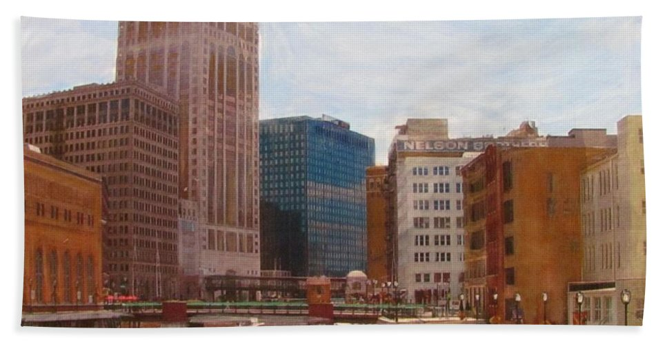 Milwaukee Beach Towel featuring the mixed media Milwaukee River View by Anita Burgermeister