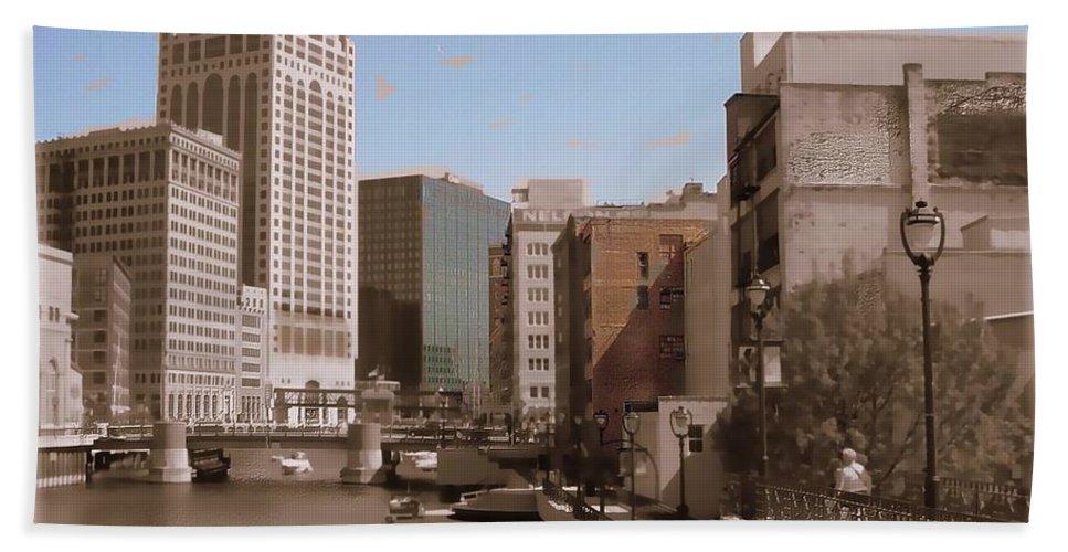 River Beach Towel featuring the digital art Milwaukee Riverwalk by Anita Burgermeister