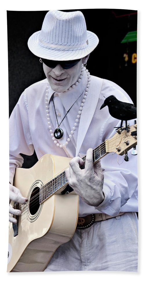 Photography Beach Towel featuring the photograph Mime And Guitar by Kathleen K Parker