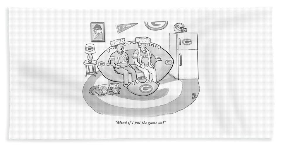 """mind If I Put The Game On?"" Game Beach Sheet featuring the drawing Mind If I Put The Game On by Paul Noth"