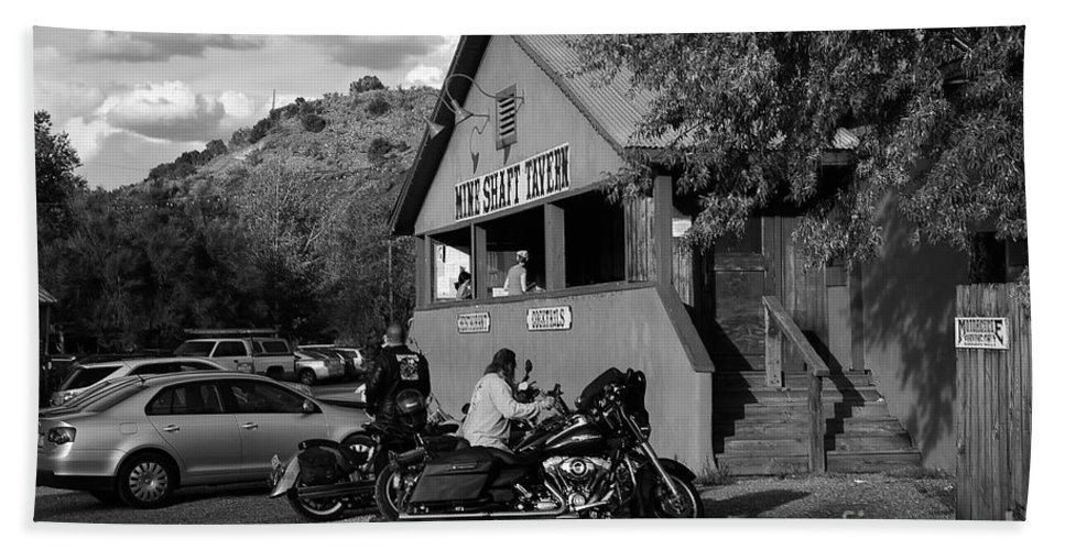 Bikers Beach Towel featuring the photograph Mine Shaft Bikers by Madeline Ellis