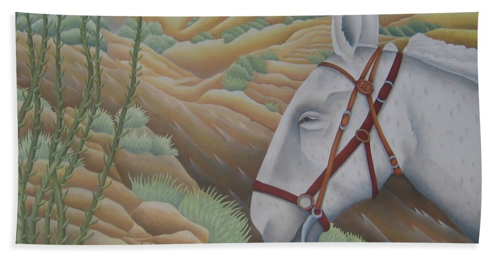 Burro Beach Towel featuring the painting Miner's Companion by Jeniffer Stapher-Thomas