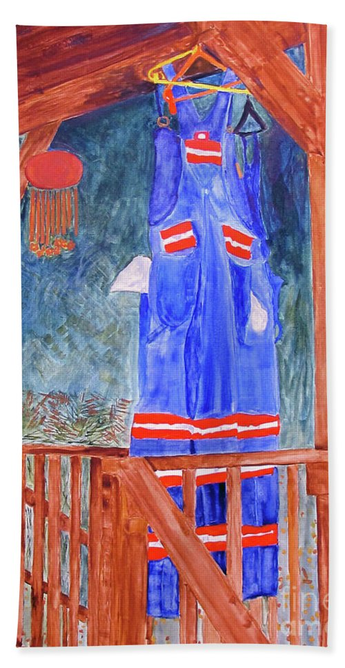 Miner Beach Towel featuring the painting Miner's Overalls by Sandy McIntire