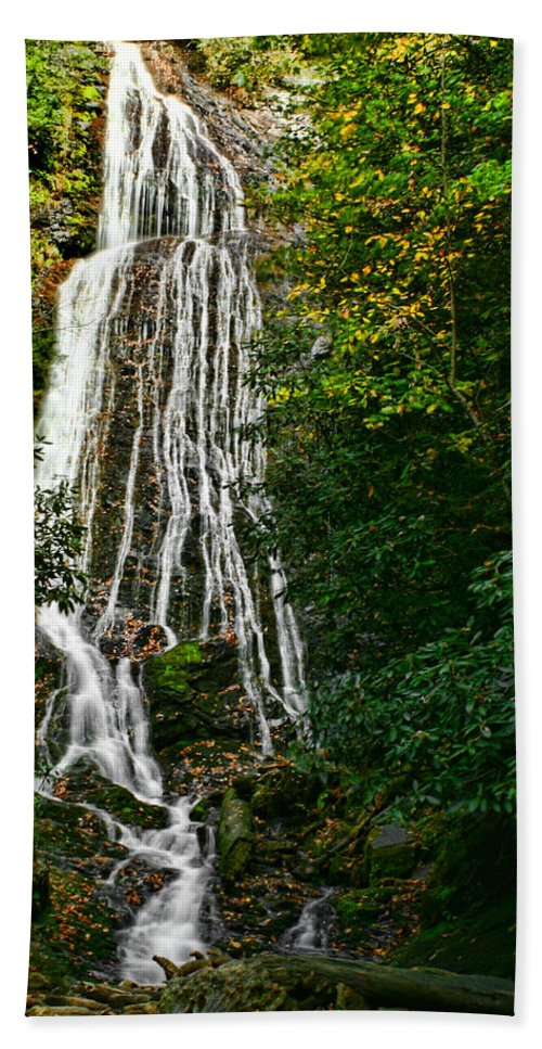 Water Waterfall Flowing Stream Creek Photography Photograph Digital Art Landscape Nature Smoky Mountains Cosby Tennessee Beach Towel featuring the photograph Mingo Falls - Gsmnp by Shari Jardina
