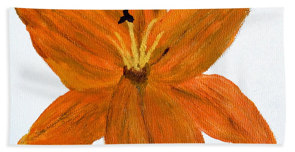 Lily Beach Towel featuring the painting Mini #119 by Dick Bourgault