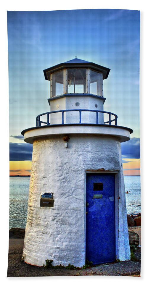 Lighthouse Beach Towel featuring the photograph Miniature Lighthouse by Evelina Kremsdorf
