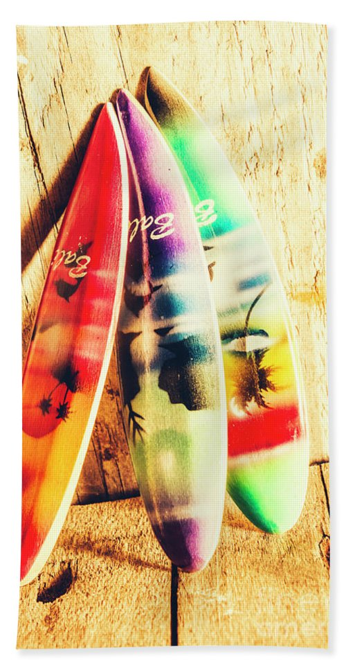 Surfing Beach Towel featuring the photograph Miniature Surfboard Decorations by Jorgo Photography - Wall Art Gallery