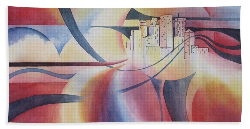 Minneapolis Skyline Beach Towel featuring the painting Minneapolis Cityscape by Deborah Ronglien