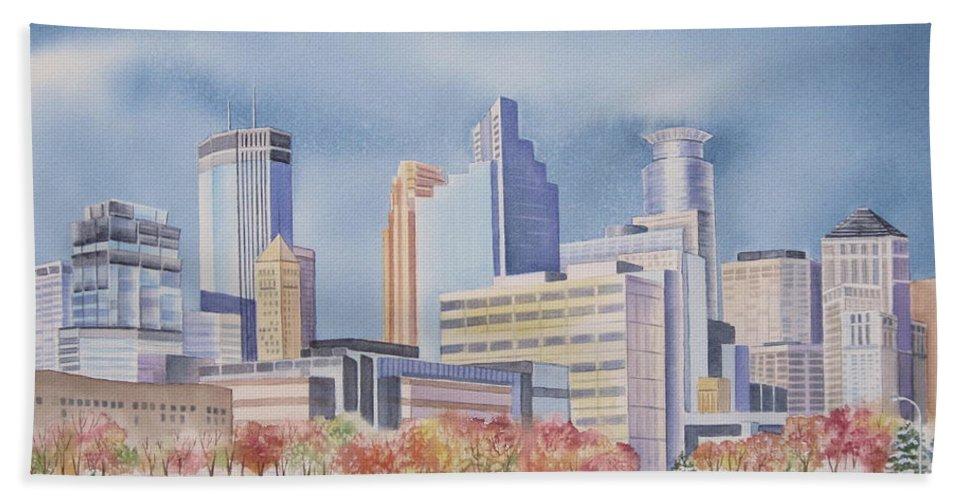Minneapolis Beach Towel featuring the painting Minneapolis Skyline by Deborah Ronglien