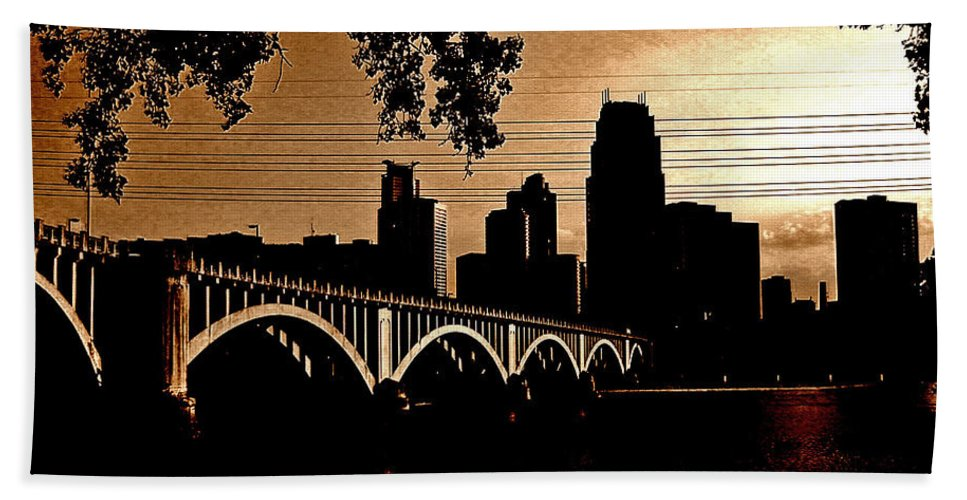 Minneapolis Beach Towel featuring the photograph Minneapolis Skyline In Copper by Tom Reynen