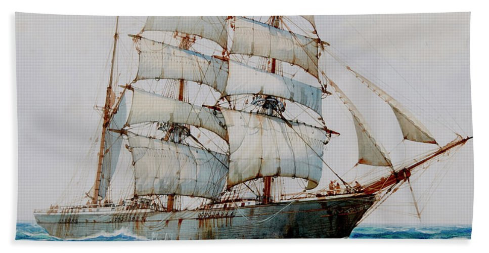Horizon Beach Towel featuring the painting Minnie Achten - Detail by Montague Dawson