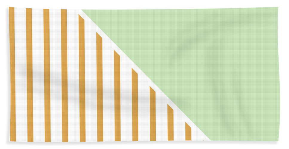 Mint Beach Towel featuring the digital art Mint And Gold Geometric by Linda Woods