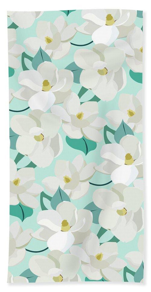 Magnolia Beach Towel featuring the digital art Mint Magnolias by Elizabeth Tuck