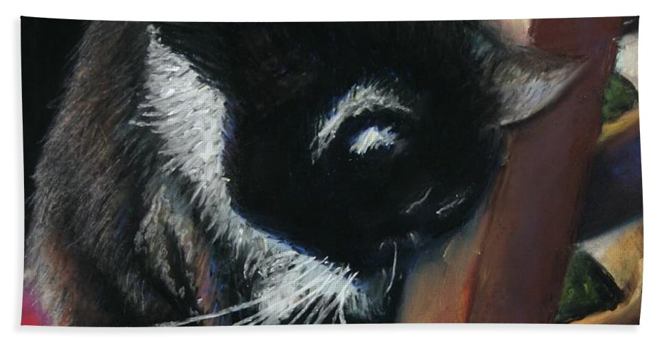 Cat Beach Towel featuring the painting Kitty Chair by Minaz Jantz