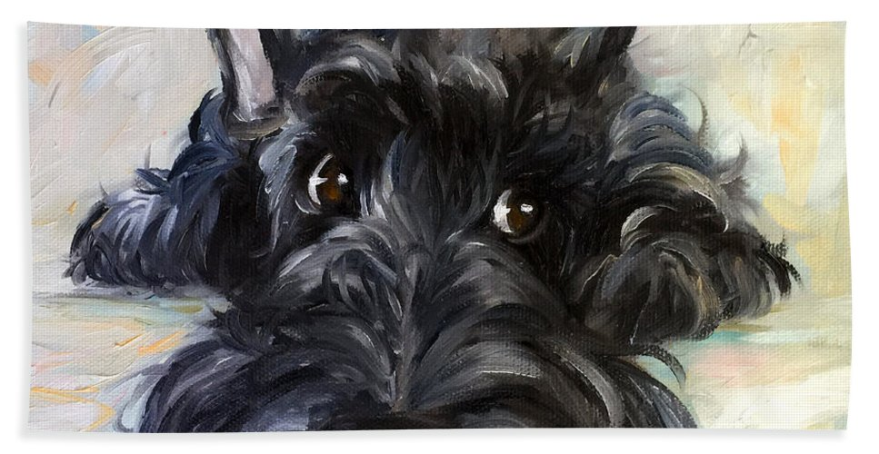 Scottie Beach Towel featuring the painting Mischief by Mary Sparrow