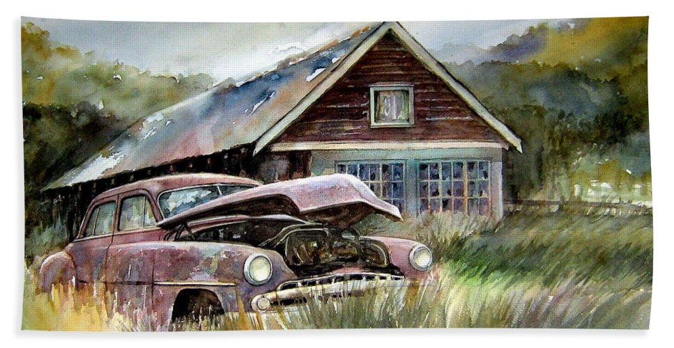 Car House Beach Towel featuring the painting Miss Wilson's House by Ron Morrison
