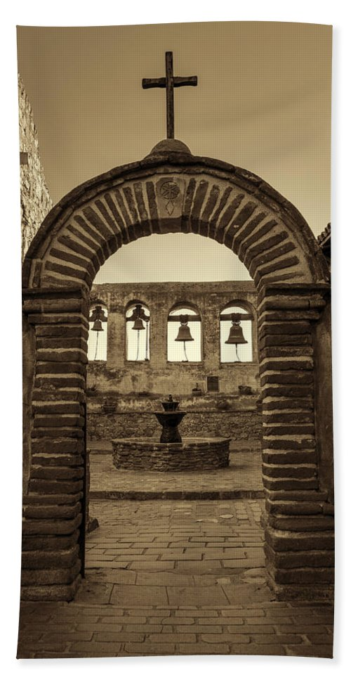 Capistrano Beach Towel featuring the photograph Mission Gate And Bells #2 by Stephen Stookey
