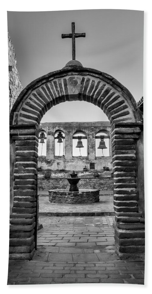 Capistrano Beach Towel featuring the photograph Mission Gate And Bells #3 by Stephen Stookey