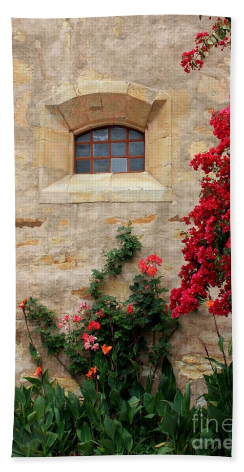 Window Beach Towel featuring the photograph Mission Window by Carol Groenen
