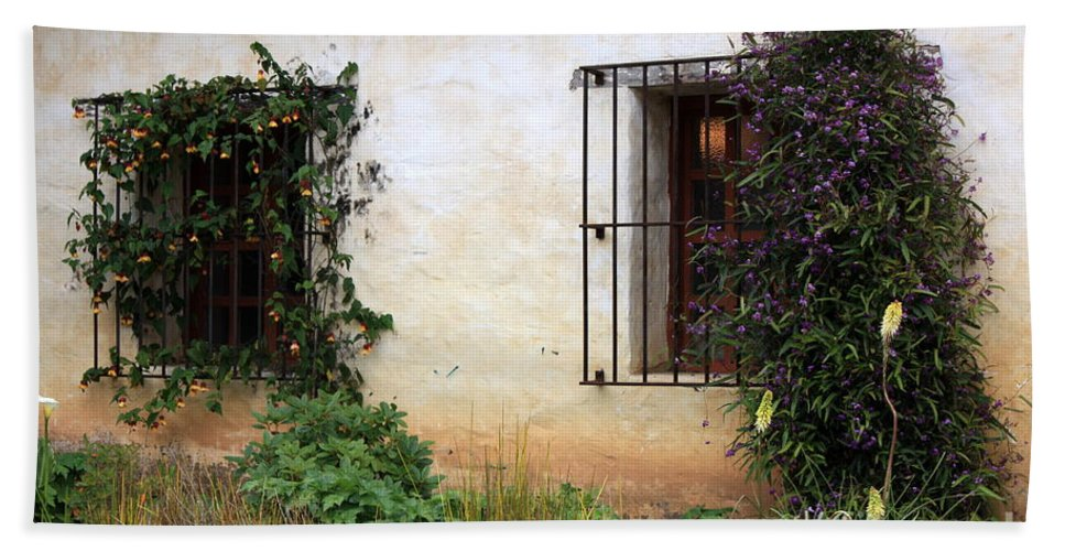 Vines Beach Towel featuring the photograph Mission Windows by Carol Groenen