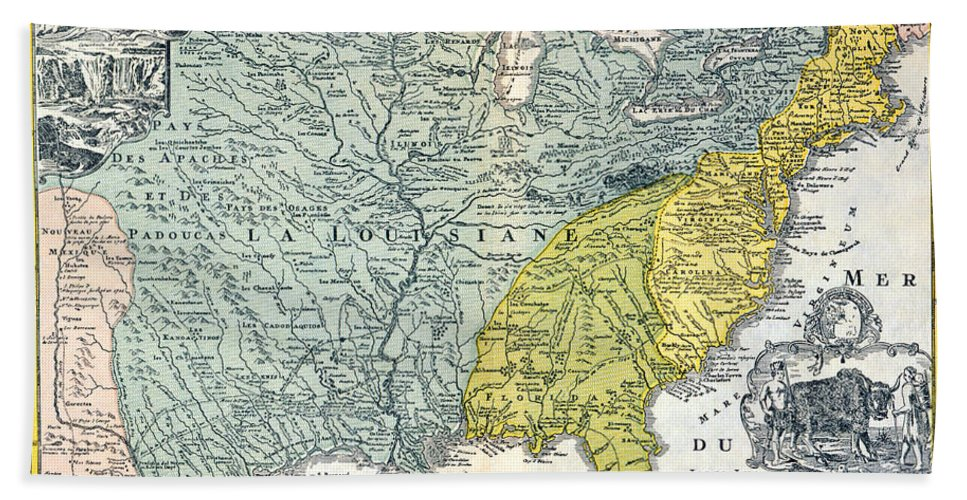 1687 Beach Towel featuring the photograph Mississippi Region, 1687 by Granger