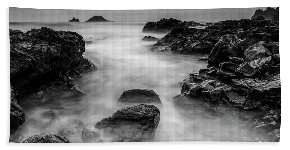 Priest Cove Beach Towel featuring the photograph Mist On The Water In Monochrome by Jennifer Higgs