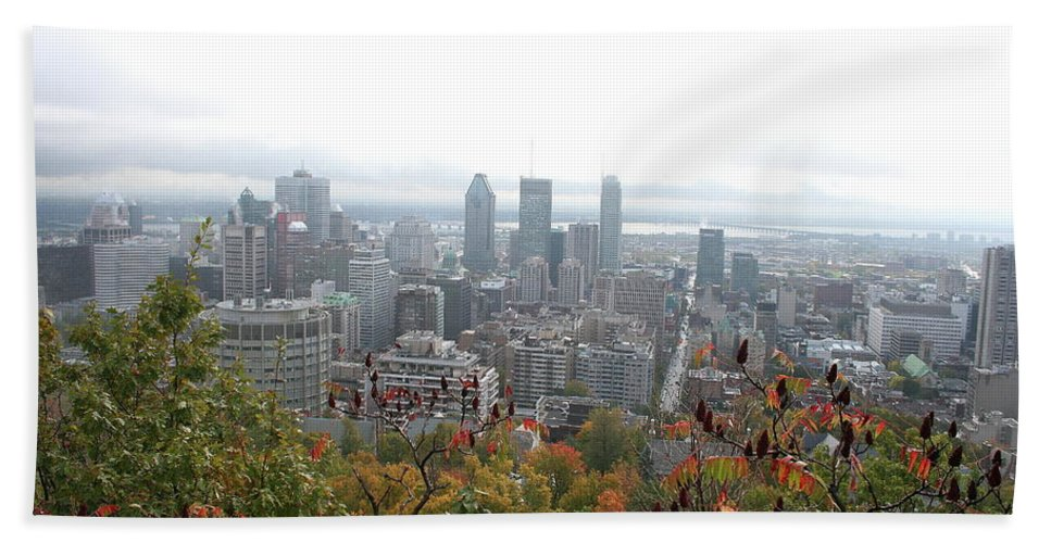 City View Beach Towel featuring the photograph Mist Over Montreal by Christiane Schulze Art And Photography