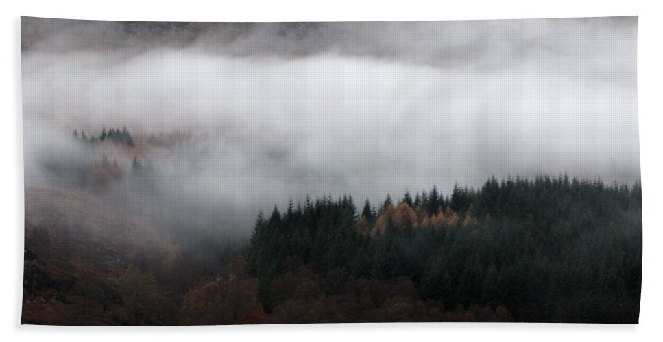 Scotland Beach Towel featuring the photograph Mist Rolling Down by Maria Joy