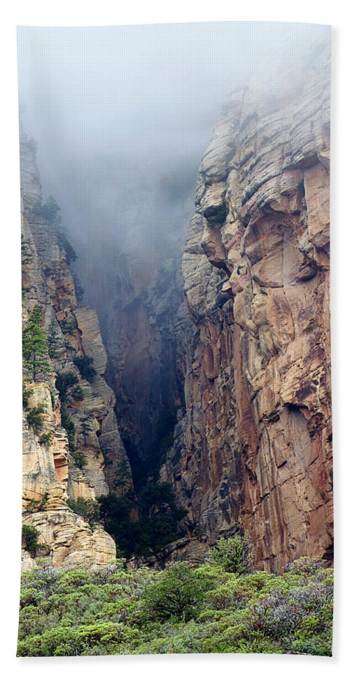 Red Rocks Beach Towel featuring the photograph Misty Canyons by Phyllis Denton