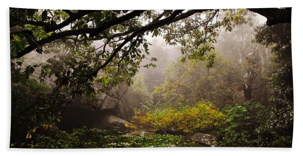 Rock City Beach Towel featuring the photograph Misty Distance by Lori Mahaffey