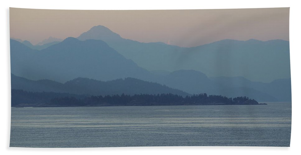 Beach Towel featuring the photograph Misty Hills On The Strait by Cindy Johnston