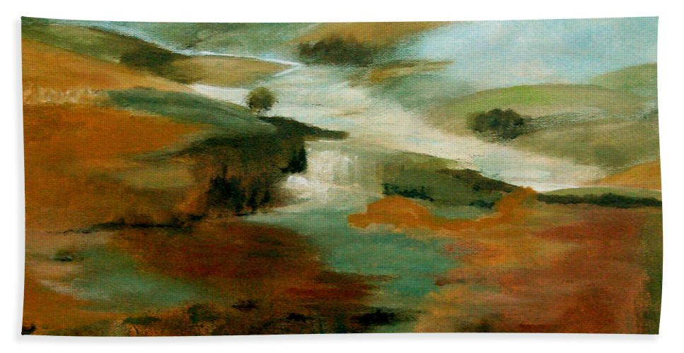 Abstract Beach Towel featuring the painting Misty Hills by Ruth Palmer
