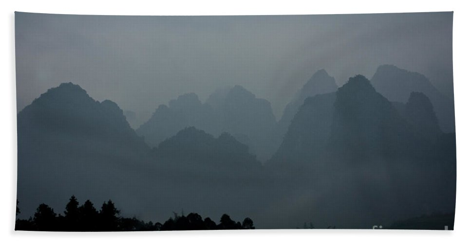 Guangxi Beach Towel featuring the photograph Misty Karst Landscape by Dant� Fenolio