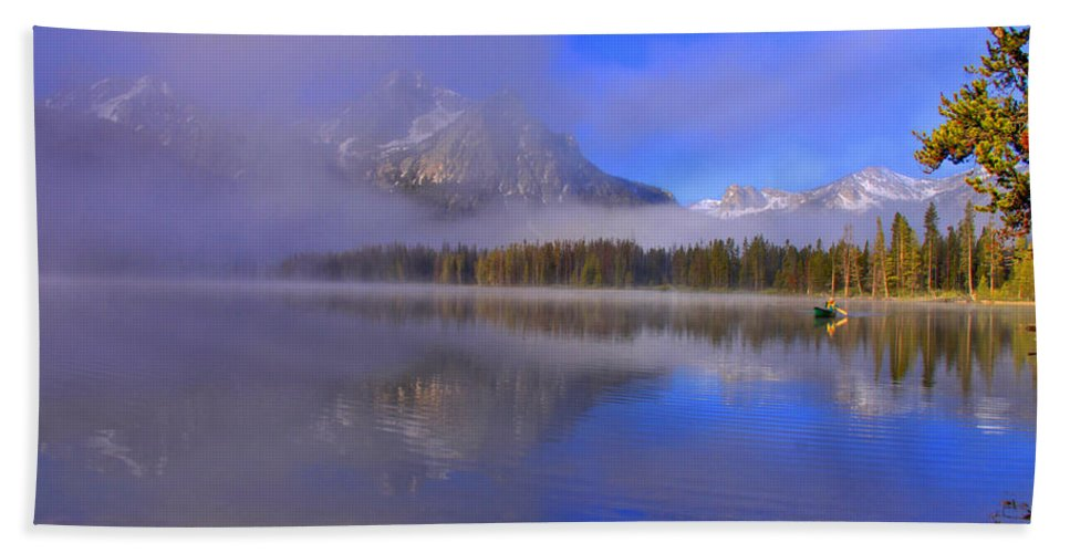 Lake Beach Towel featuring the photograph Misty Morning On A Canoe by Scott Mahon