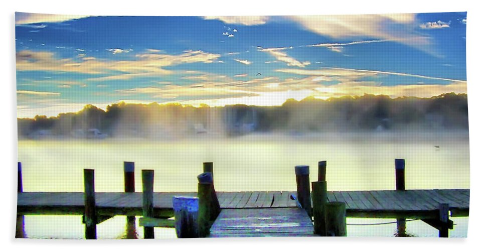 2d Beach Towel featuring the photograph Misty Morning On Rock Creek by Brian Wallace